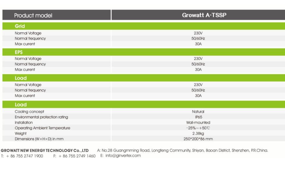 Growatt A-Tssp PDF | Sernolux.com