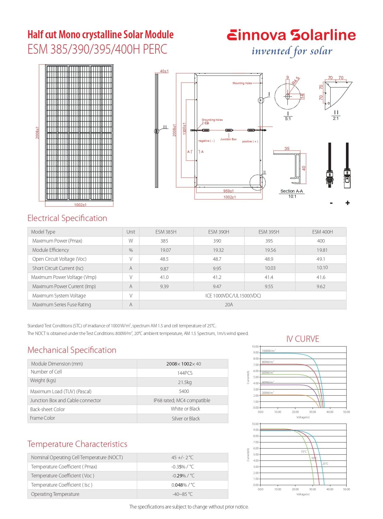 ESM 385/390/395/400H PERC PDF | Sernolux.com