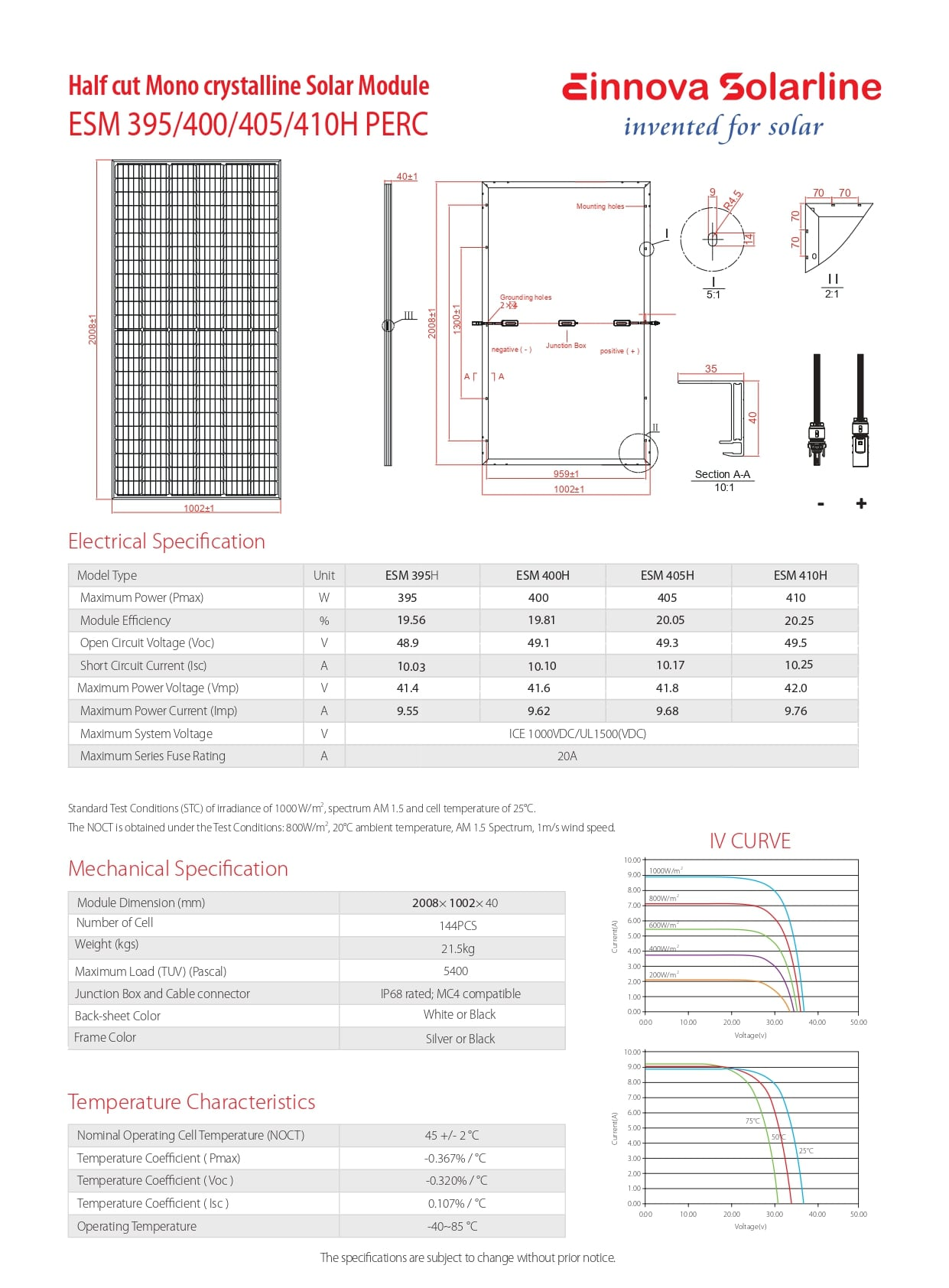 ESM 395/400/405/410H PERC PDF | Sernolux.com